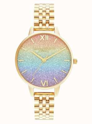 Olivia Burton | Rainbow Glitter Dial | Gold Bracelet | OB16RB23