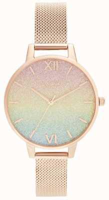 Olivia Burton Rainbow Glitter Dial & Rose Gold Mesh OB16RB18