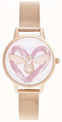 Olivia Burton Lucky Bee, Silver & Rose Gold Mesh OB16FB01