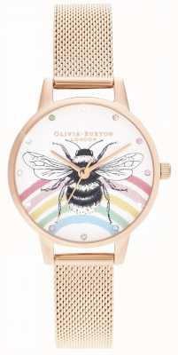 Olivia Burton Illustrated Rainbow Bee, Rose Gold Mesh OB16WL90