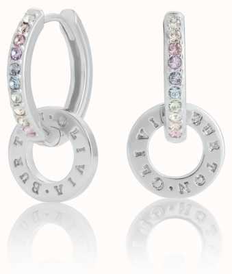 Olivia Burton | Bejewelled Rainbow Interlink | Silver | Huggie Hoops | OBJRBE01