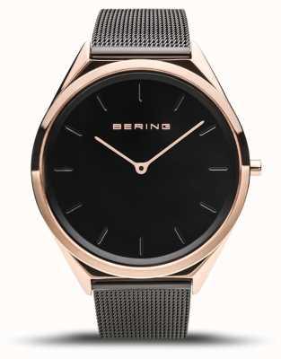 Bering   Unisex   Ultra-Slim   Black Mesh Bracelet   17039-166