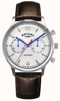 Rotary Men's Avenger | Brown Leather Strap | Silver Dial GS05203/70