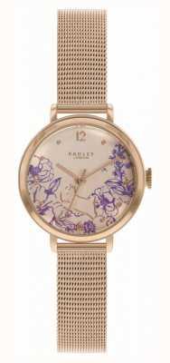 Radley | Women's Rose Gold Mesh Bracelet | Floral Print Dial RY4524
