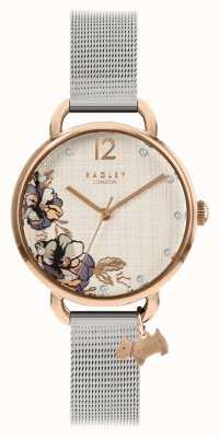 Radley | Women's Silver Mesh Bracelet | Floral Print Dial | RY4525