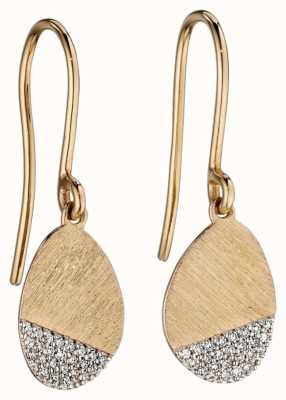 Elements Gold 9ct Yellow Gold Matte Oval Diamond Drop Earrings GE2196