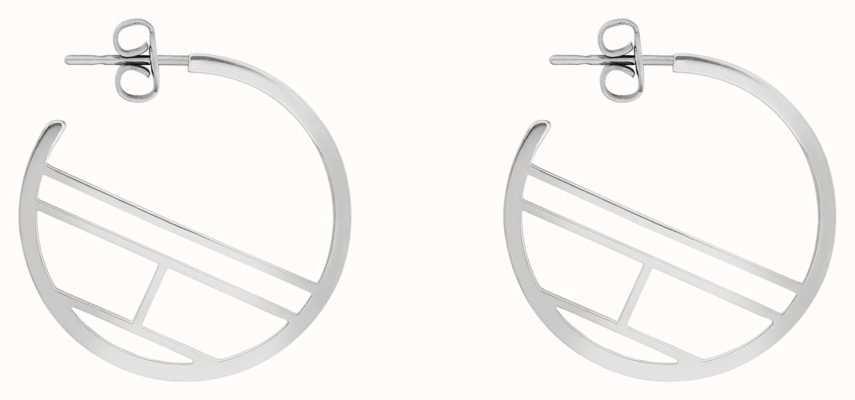 Tommy Hilfiger   Casual   Women's Stainless Steel Flag Hoop Earrings   2780328