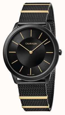 Calvin Klein | Minimal | Black Steel Mesh Bracelet | Black Dial | K3M514Z1