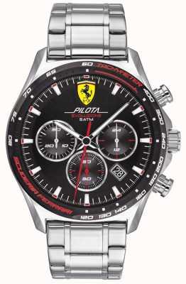 Scuderia Ferrari | Men's Pilota Evo | Stainless Steel Bracelet | Black Dial | 0830714