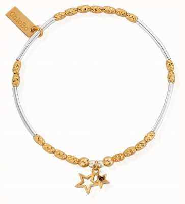 ChloBo Gold And Silver Double Star Bracelet GMBMNSR1128