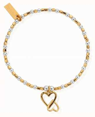 ChloBo Gold And Silver Mini Cube Interlocking Heart Bracelet GMBCFB1069