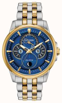 Citizen Men's | Eco-Drive | Moonphase | Blue Dial Watch BU0054-52L