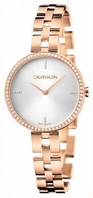 Calvin Klein Elegance   Rose Gold PVD Bracelet   Silver Dial KBF23146