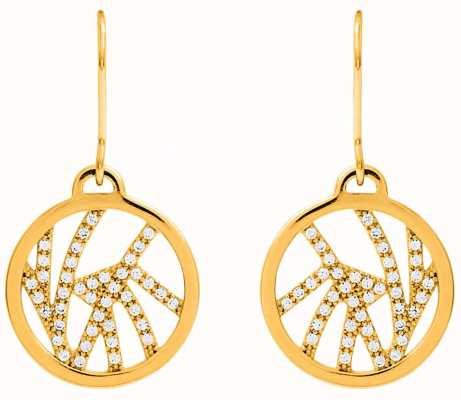 Les Georgettes 16mm Perroquet Gold Plated CZ Pattern Sleeper Earrings 70326301908000