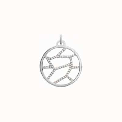 Les Georgettes 25mm Girafe Silver Finish CZ Round Pendant 70318761608000