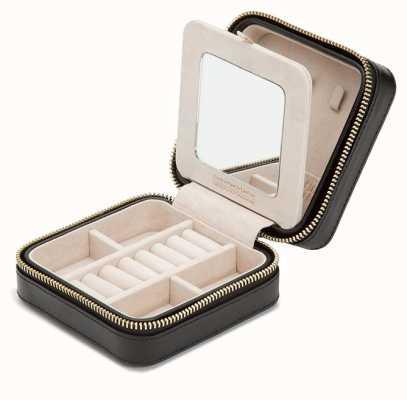 WOLF Caroline Black Zip Travel Jewellery Case 329971