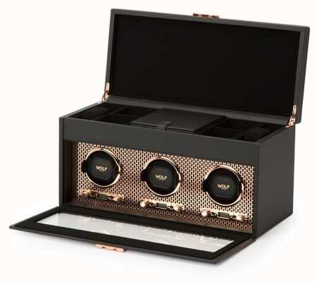 WOLF Axis Copper Triple Watch Winder With Storage And Travel Case 469416