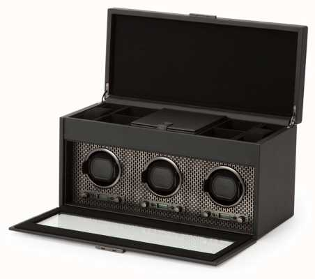 WOLF Axis Powder Coat Triple Watch Winder With Storage And Travel Case 469403