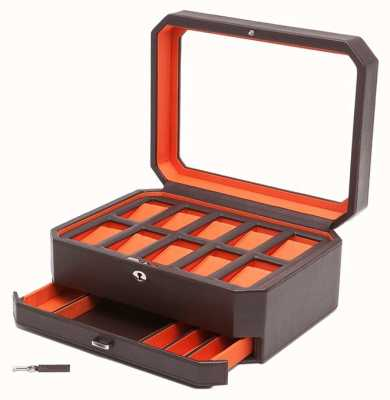 WOLF Windsor Brown/Orange 10Pc Watch Box With Drawer 458606