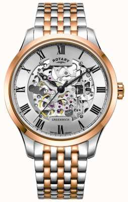 Rotary Greenwich Automatic | Two-Tone Bracelet | Skeleton Dial GB02944/06