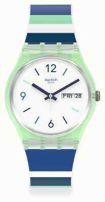 Swatch SKY ZEBRA | Multi-Coloured Silicone Strap | White Dial GG711