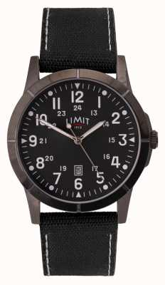 Limit Men's Black Canvas Strap | Black Dial | Alloy Case 5791.01