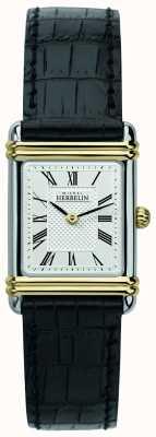 Michel Herbelin Women's Art Deco | Black Leather Strap | Silver Dial 17478/T08