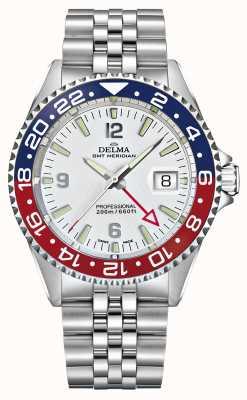 Delma Quartz GMT | Two-Tone Bezel | Stainless Steel Bracelet | 41701.648.6.P014