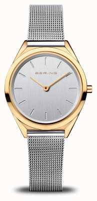 Bering Women's Ultra Slim   Silver Mesh Bracelet   Polished Gold 17031-010