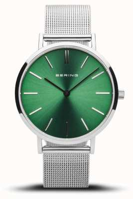 Bering Women's Classic | Polished Silver | Silver Mesh | Green Dial 14134-008