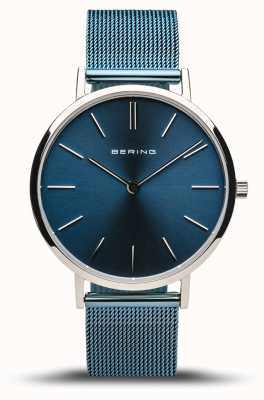 Bering Women's Classic   Polished Silver   Blue Mesh Bracelet 14134-308