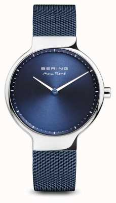 Bering Max René | Polished Silver | Blue Mesh Strap 15531-307
