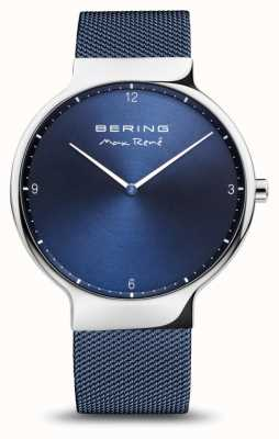 Bering Max René | Polished Silver | Blue Mesh Strap 15540-307