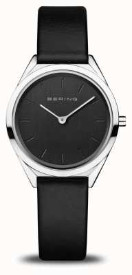 Bering Women's Ultra-Slim | Polished Silver | Black Leather Strap 17031-402