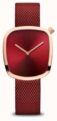 Bering Classic | Polished Rose Gold | Red Mesh 18034-363