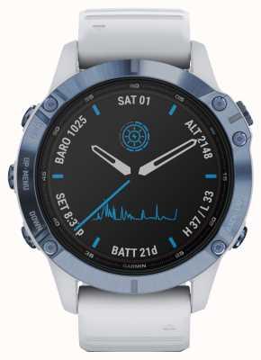Garmin Fenix 6 Pro Solar | Titanium Mineral Blue White Rubber Strap 010-02410-19