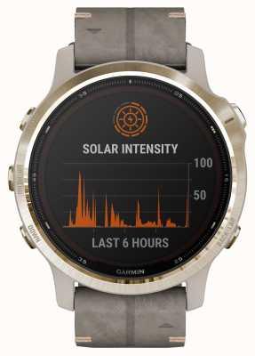 Garmin Fenix 6S Pro Solar | Light Gold Shale Grey Suede Strap 010-02409-26