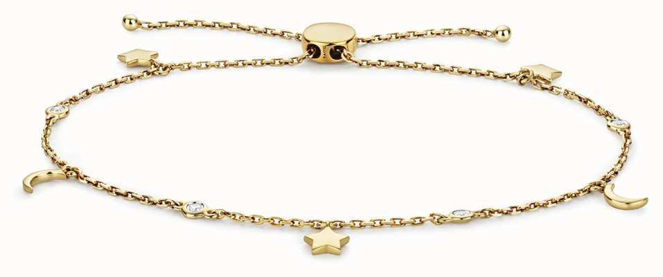 Treasure House 9k Gold 0.08ct Diamond Stars And Moon Bracelet BD031