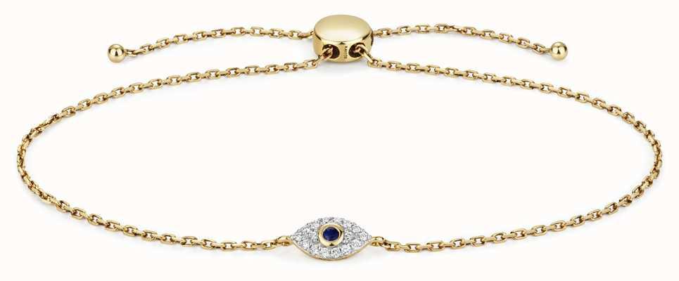 Treasure House 9k Gold 0.09ct Diamond 0.3ct Sapphire Evil Eye Bracelet BD033