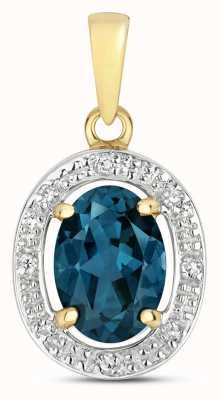 Treasure House 9k Gold Diamond & London Blue Topaz Halo Pendant PD251LB
