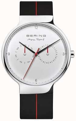 Bering Max René   Black Rubber Strap   Silver Dial 15542-404