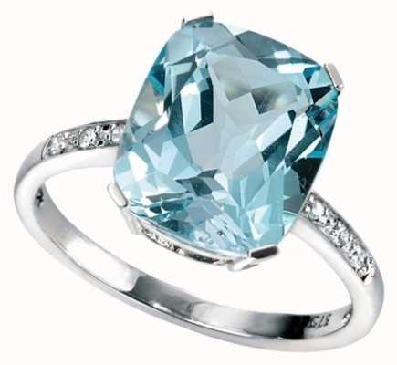 Elements Gold 9ct White Gold Rectangle Sky Blue Topaz Diamond Shoulders GR224T