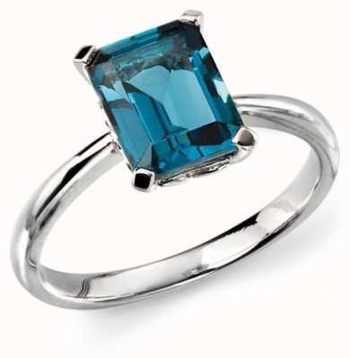 Elements Gold 9ct White Gold Rectangle London Blue Topaz Ring Size EU 54 (UK N) GR504T 54