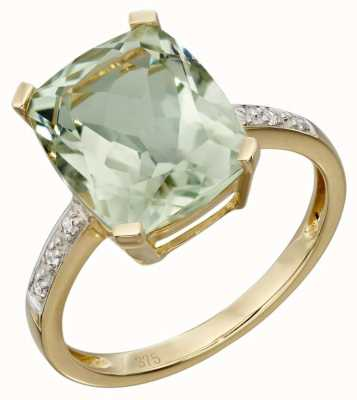 Elements Gold 9ct Yellow Gold Green Amethyst And Diamond Cocktail Ring Size EU 54 (UK N) GR543G 54