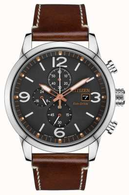 Citizen Mens Sport Eco-drive Brown Leather Strap Watch CA0618-26H