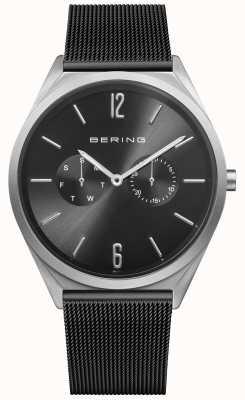 Bering Ultra Slim   Black Steel Mesh Strap   Black Dial 17140-102