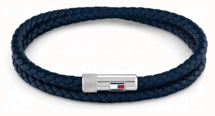 Tommy Hilfiger Men's Casual | Blue Double Wrap Leather Bracelet 2790264S