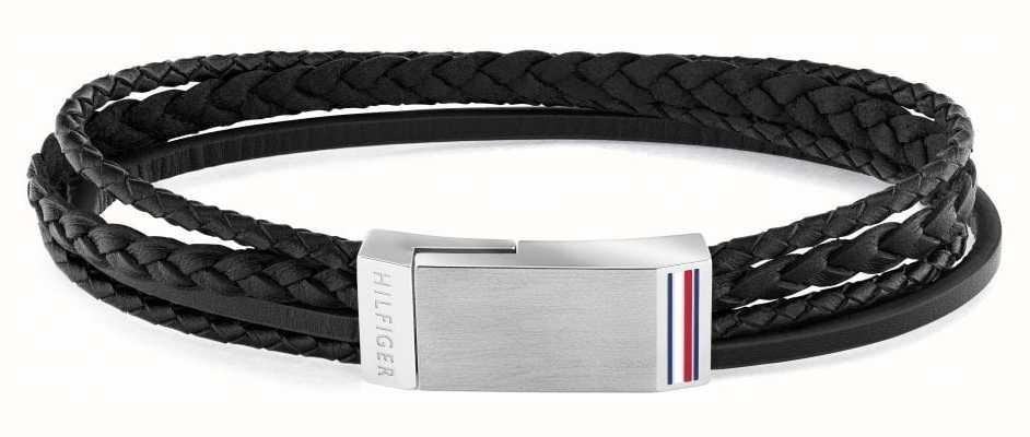 Tommy Hilfiger Men's Casual   Black Multi-Wrap Plaque Bracelet 2790281