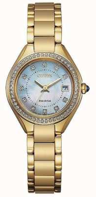 Citizen Ladies Silhouette Crystal Gold IP Mother-of-pearl Watch EW2552-50D