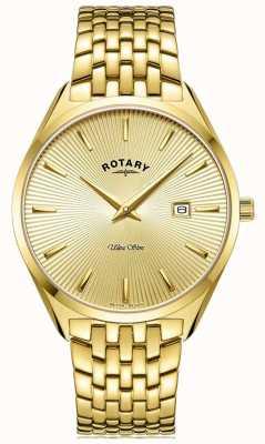 Rotary Men's Ultra Slim | Gold Plated Steel Bracelet | Gold Dial GB08013/03